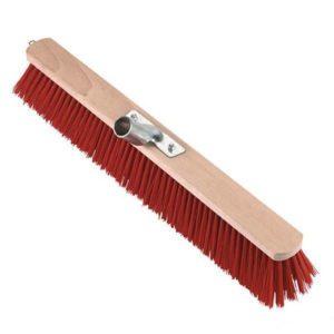 Bezem nylon rood verstevigd - 80cm