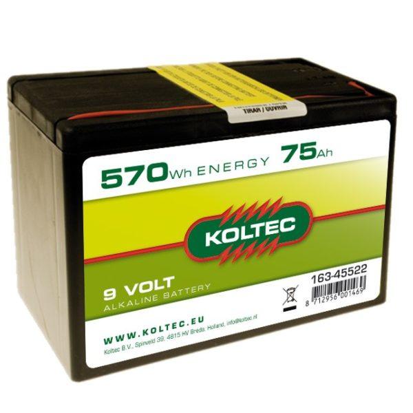 Koltec Alkalin batterij 9V - 570Wh 75Ah