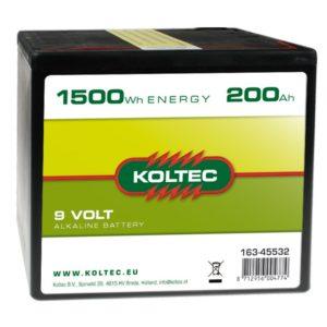 Koltec Alkalin batterij 9V -  1500Wh 200Ah